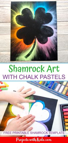 Make Brightly Colored Shamrock Art with Chalk Pastels This shamrock art is beautiful and so fun for kids to make! Kids will love using this easy chalk pastel technique to create a brightly colored St. Patrick's Day craft. March Crafts, St Patrick's Day Crafts, Spring Crafts, Preschool Crafts, Holiday Crafts, Arts And Crafts, 5 Year Old Crafts, Preschool Curriculum, Kindergarten Art