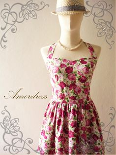 Floral Bridesmaid Dress Pink Floral Dress Summer by Amordress, $45.00