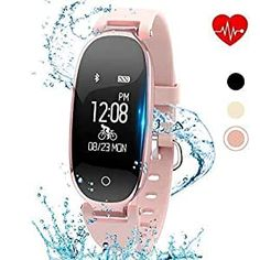 kingkok Elegant Waterproof Fitness Tracker for Women Smart Bluetooth Pedometer Watch Band Multi-Mode Wireless Activity Tracker Bracelet [Rosegold]