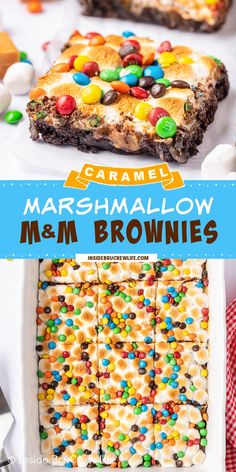 Caramel Marshmallow M&M Brownies - these gooey chocolate brownies have caramel, marshmallows, and M&M's on the top. Easy brownie recipe that is perfect for any event or holiday. Slow Cooker Recipes Dessert, Best Dessert Recipes, Sweets Recipes, Easy Desserts, Delicious Desserts, Snack Recipes, Yummy Food, Dessert Ideas, Holiday Recipes