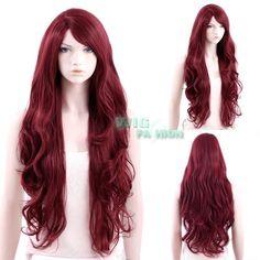 Heat Resistant Long Curly Dark Red Fashion Hair Wig #Wigfashion #FullWig