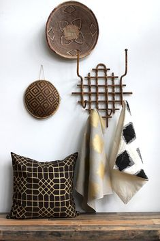 △☆idb #African inspiration #modern #interior #design Penn Grid pillow cover in metallic bronze hand printed on brown organic hemp