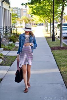 Simple maternity look: striped dress, denim jacket, straw fedora and sandals. | Little Blonde Book