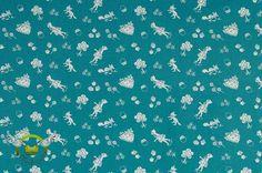 Stoffe gemustert - Baumwolle Greta - Rotkäppchen und der Wolf petrol - ein Designerstück von Elfenfrosch-Stoffe bei DaWanda