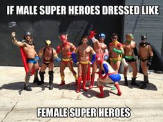 Omg Spiderman in the front. I'm dying.  But seriously, look how well this illustrates how ridiculous female superhero costumes are.  SMH