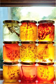 Honey jars with herbs
