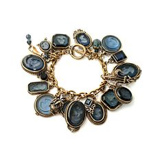 Extasia - Montana Intaglio Charm Bracelet ❤ liked on Polyvore featuring jewelry, bracelets, accessories, blue, jewels, charm bracelet, blue bracelet, bracelet bangle, bracelet jewelry and charm bracelet bangle