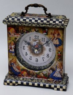 Alice in Wonderland Clock featuring the Mad Hatters Tea Party and White Rabbit images on the front, sides and top. by RubyAliceandMe on Etsy https://www.etsy.com/uk/listing/287979835/alice-in-wonderland-clock-featuring-the