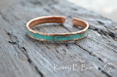 Teal Bracelet, Recycled copper tubing, Bold Bracelet, Rustic Jewelry, By Korey Burns on Etsy, $18.00