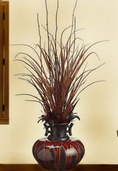 Grass and Feathers Artifical Floral Design in Asian Bamboo Vase ARWF3008