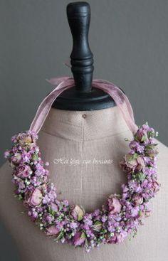 My flowers necklace Flower Crown, Flower Art, Floral Wedding, Wedding Bouquets, Bridal Jewelry, Jewelry Art, Floral Necklace, Arte Floral, Floral Fashion