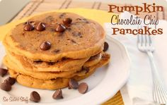 Pumpkin Chocolate Chip Pancakes Recipe from SixSistersStuff.com