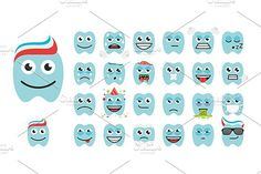 teeth with different emotions. Human Icons. $5.00