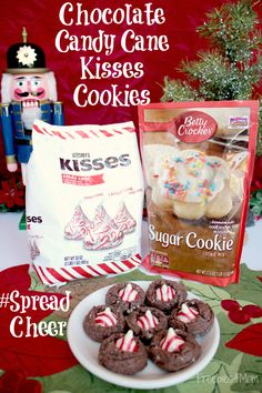 Chocolate Candy Cane Kisses Cookies made with Betty Crocker Sugar Cookie Mix… Betty Crocker Sugar Cookie Recipe, Sugar Cookies Recipe, Cookie Recipes, Sugar Cookie With Hershey Kiss Recipe, Cookie Ideas, Christmas Sugar Cookies, Holiday Cookies, Christmas Baking, Navidad