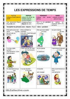 Explication de l'utilisation des expressions de temps et exercices avec imgaes. - Fiches FLE