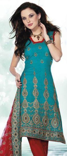 Blue Art silk Churidar Kameez @ $55.20 | Shop @ http://www.utsavfashion.com/store/sarees-large.aspx?icode=kcr4069b