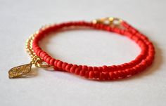 Red opaque cherry seed bead wrap friendship by HelenaHowcroft, $13.50