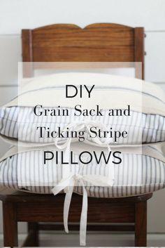 DIY Grain Sack and Ticking Stripe Pillows