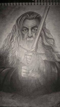 Original graphite drawing, Gandalf the grey. (The hobbit)