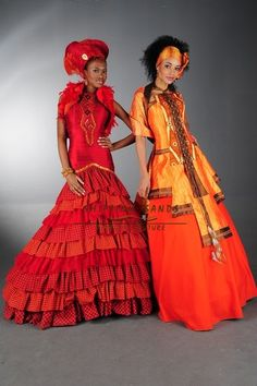 Palesa & Selina Shifting Sands Traditional African. Left - Shwe Shwe and silk frill wedding dress with beaded panel and trim. Right - Zulu inspired ball gown with leather and feather detail.