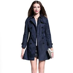 Saprex British Style Women Windbreak Double Breasted Trench Coats NavyBlue Size XXL * Be sure to check out this awesome product.
