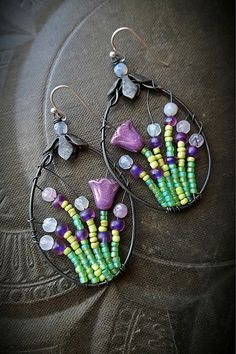 Flowers Wire Wrapped Hoops Artisan Made Leaves Summer