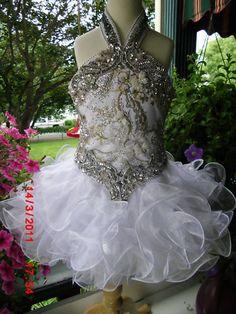 .White Gold Halter Swirl Cupcake Girls Glitz Pageant Dress