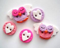 Button Angel Owls handmade polymer clay button by digitsdesigns