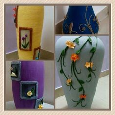 pot Art N Craft, Vases, Elsa, Pots, Arts And Crafts, Beads, Creative, Diy, Beading