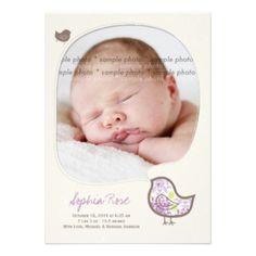 Purple Damask Chicks Baby Girl Birth Announcement #baby #newborn #girl #birth #announcement