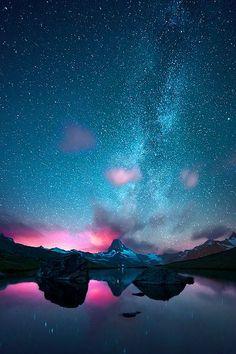 The Milky Way above the Matterhorn, taken from the lake Stellisee, Zermatt Switzerland