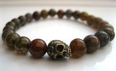 Mens Dragon Vein Agate & Skull Bracelet. #skull #bracelet
