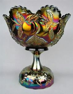 MANY FRUITS by DUGAN ~ SUPER AMETHYST CARNIVAL GLASS PUNCH BOWL