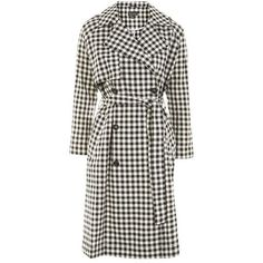 TopShop Gingham Trench Coat (£120) ❤ liked on Polyvore featuring outerwear, coats, white double breasted coat, white coat, double-breasted trench coat, patterned trench coat and print coat