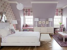 Try the softer side of orchid: Pair it with lavender and white. (http://www.hgtv.com/color/pantones-2014-color-of-the-year-radiant-orchid/pictures/page-9.html?soc=Pinterest)