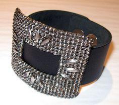 Handmade Black Leather Cuff Bracelet with Antique Cut Steel Buckle Decoration (#8)