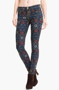 NWT Current/Elliott the Ankle Skinny in Midnight Tapestry Print Stretch Jeans 27 #CurrentElliott #SlimSkinny