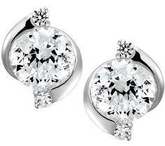Epiphany Diamonique 100-Facet Round Stud Earrings