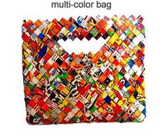Tutorial: Create beautiful bags out of candy wrappers, chips packet or any colourful paper e.g. flyers covered in clear contact