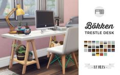 Bökken Trestle Desk | Study | Home Office | by mlyssimblr via tumblr | Sims 4 | TS4 I Maxis Match | MM | CC | Must-Have-Pin by sueladysims