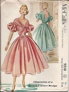 McCalls evening gown sewing pattern, 1953.