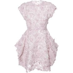 Giambattista Valli Brushed Floral Macrame Dress With Petal Skirt (€6.395) ❤ liked on Polyvore featuring dresses, floral crochet dress, floral print dress, pink dress, pink floral dress and petal pink dresses