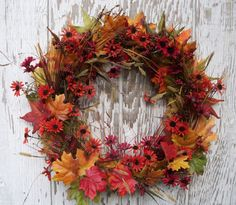 Fall Wreath, Autumn Wreath, Harvest Wreath, Fall Colored Wreath, Autumn Flowers Wreath, Wheat and Berries Wreath, Autumn Garden Wreath