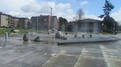 The water fountains at the Ballard Commons are on for the season! # water # Seattle