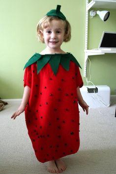DIY Strawberry Kids Easy Halloween Costume on The Garter Girl blog