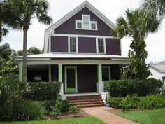 Purple with bright green paint on the porch. A lot of people hate this house, but someone liked it so much that she did a watercolor painting of it. Exterior Paint Colors For House, Paint Colors For Home, Exterior Colors, Red Roof House, House On Stilts, Purple Home, Glass Fire Pit, Stucco Homes, Diy Kitchen Island