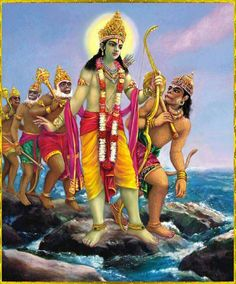 Ramayana — Rama, Hannuman, and the vanara army crossing the bridge to Lanka. They constructed the bridge with help from Rama's brother Lakshman to rescue Sita, who was kidnapped by Ravana.