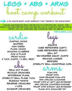 I am super psyched to share this workout with you guys this morning! Last night I took some time to plan out a boot camp class that I'm subbing today and came up with this workout that I'm pretty sure is going to kick some major booty later this morning. Pilates Abs, Pilates Workout, Ab And Arm Workout, Arm Workout For Beginners, Tone Arms Workout, Arm Workouts At Home, Hiit Workout At Home, Boot Camp Workout, Outdoor Workouts