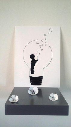Affiche Illustration Noir et blanc ampoule  la force de