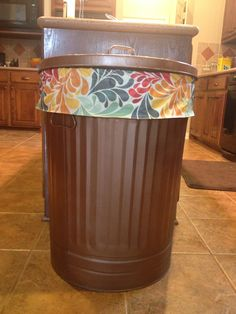 Painted galvanized trash can. I love this addition to my kitchen.